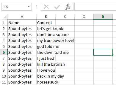Card stats in excel