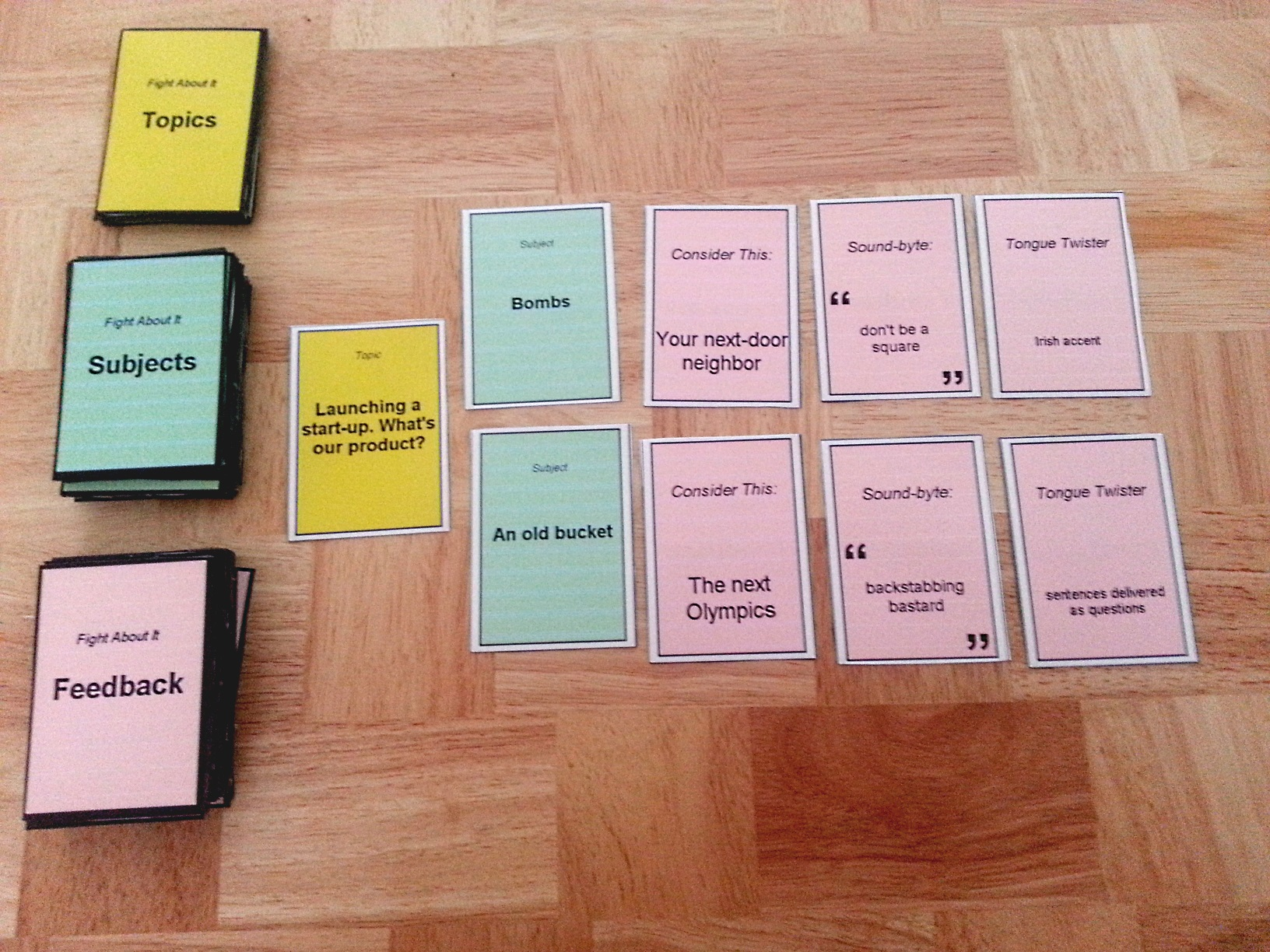 "Cardstock prototype of my game, ""Fight About It"""