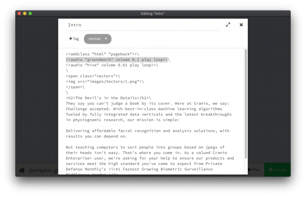 6. The Twine editor, with a Sugarcube audio call highlighted