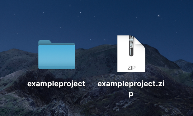 8. Desktop view of game folder compressed into a ZIP file
