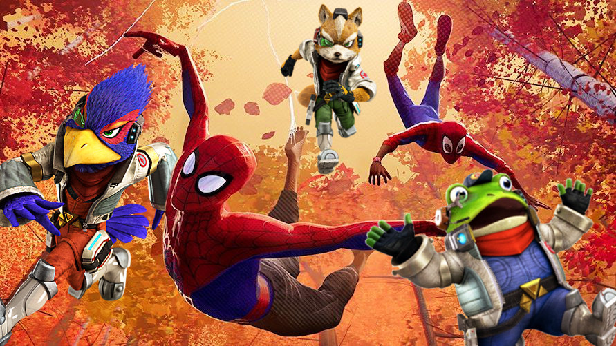 A badly photoshopped image of Star Fox and Spider-Man characters